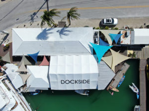 Picture of a aerial view looking down on the Dockside Bar and grill.